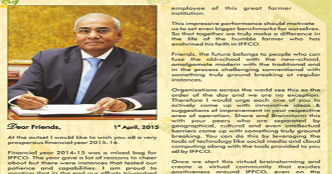 Be proud of yourself as professionals of IFFCO: MD